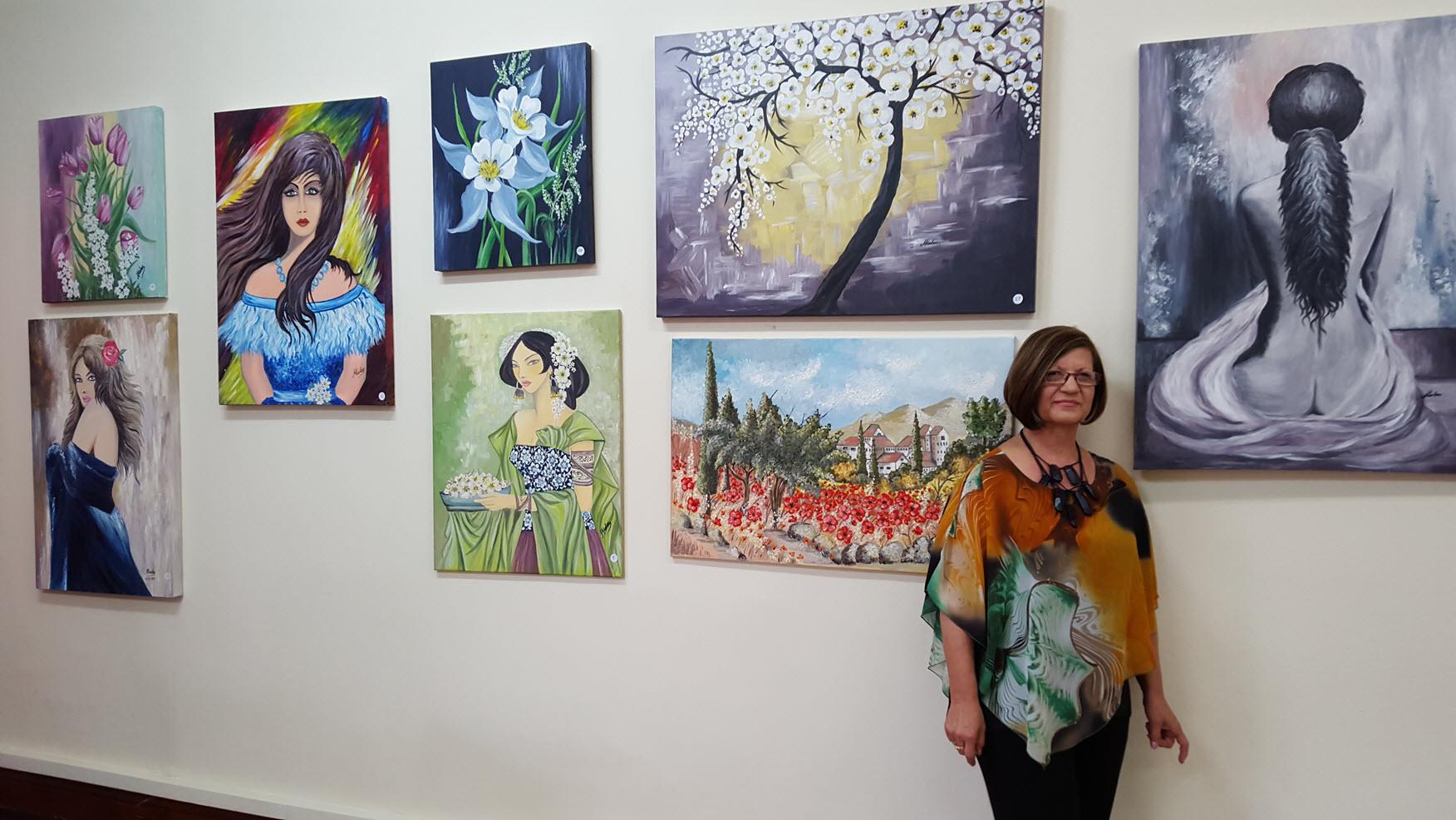 Artist Mary Kalaitzis among her wonderful creations