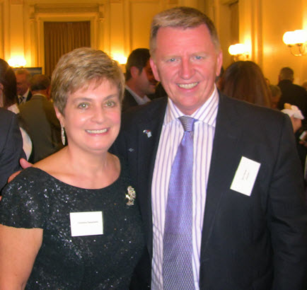Jim Claven (right) and Christina Despoteri (Thessaloniki Association) in an event at the Victorian Parliament