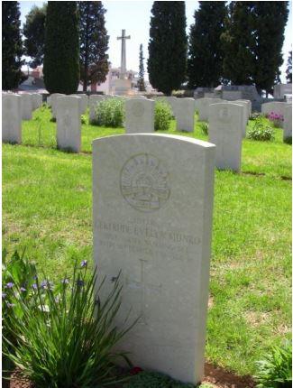 Grave of Australian Nurse Gertrude Evelyn Munro, Mikra Military Cemetery, Thessaloniki.  Photograph Jim Claven 2012
