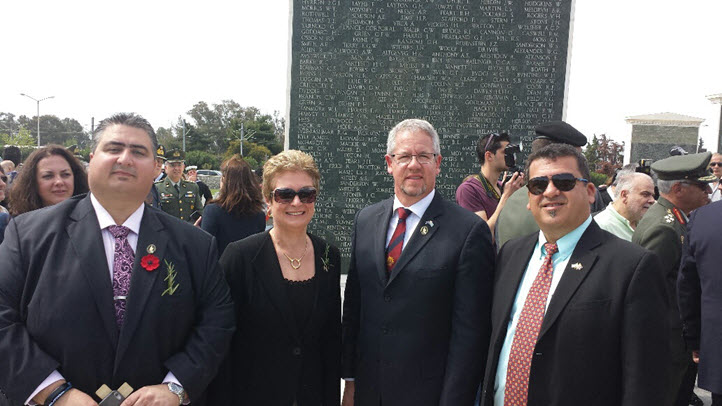 From left to right - Lee Tarlamis President, Lemnos Gallipoli Commemorative Committee, Christina Despoteris, Vice President Thessaloniki Association 'The White Tower', The Hon Richard Dalla Riva MP, Representing the Victorian Parliament, John Pandazopoulos President, World Hellenic Inter-Parliamentary Association