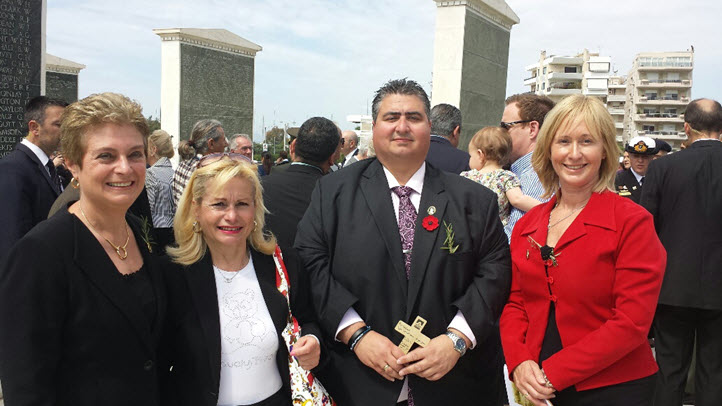 From left to right - Christina Despoteris, Vice President, Thessaloniki Association 'The White Tower', Athina Roussi, Lee Tarlamis President, Lemnos Gallipoli Commemorative Committee, Bronwyn Halfpenny MP, Representing the Victorian Parliament